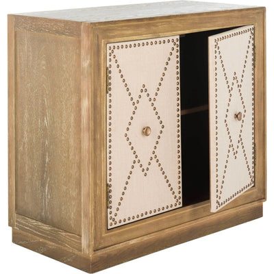 Erabella 2 Door Chest Oak Linen/Copper/Mirror