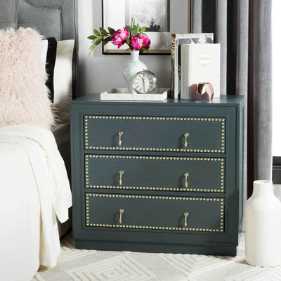 Lawson 3 Drawer Chest Steel Teal/Gold