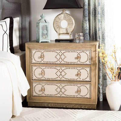 Aubrey 3 Drawer Chest Oak/Beige/Copper