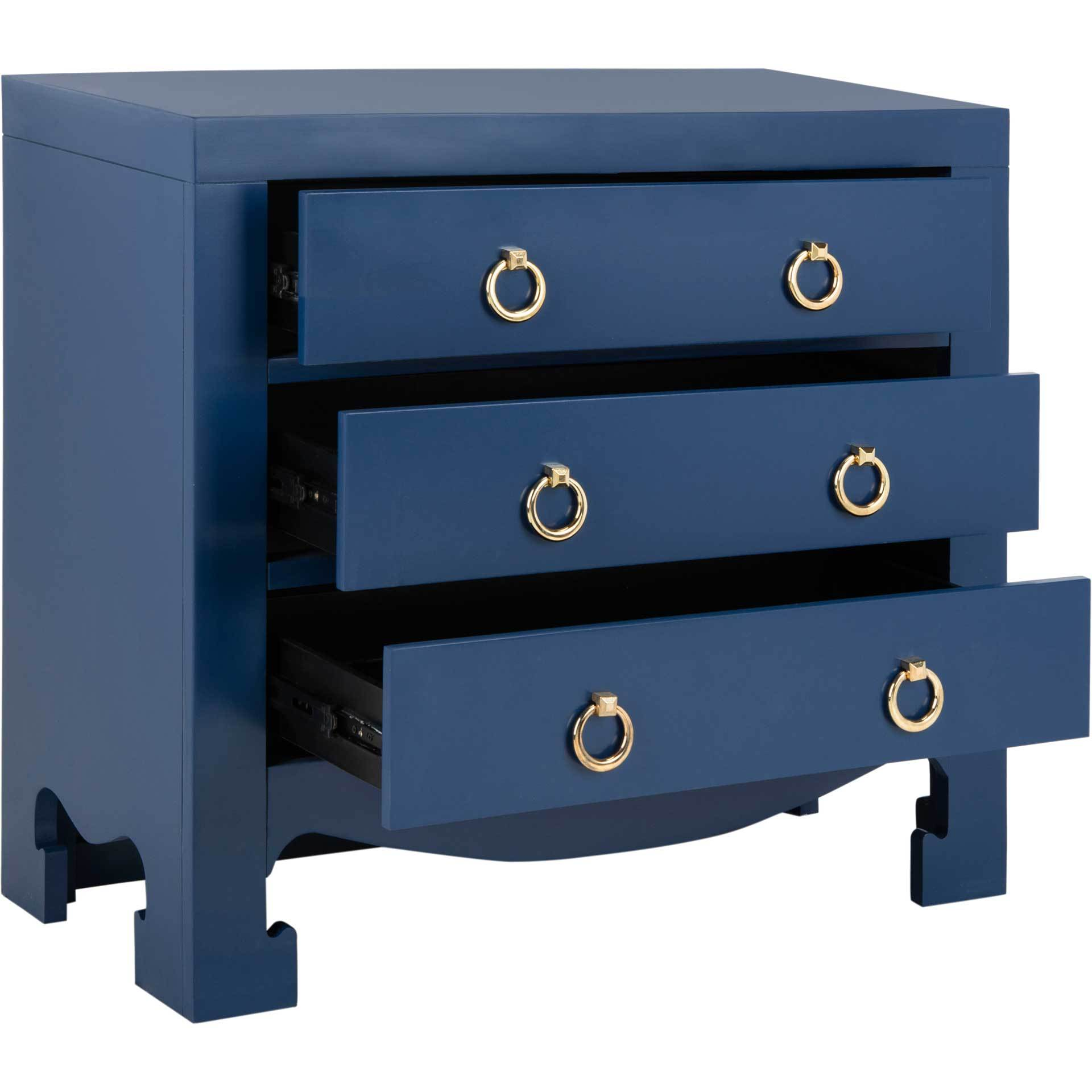 Dillon 3 Drawer Chest Lapis Blue/Gold