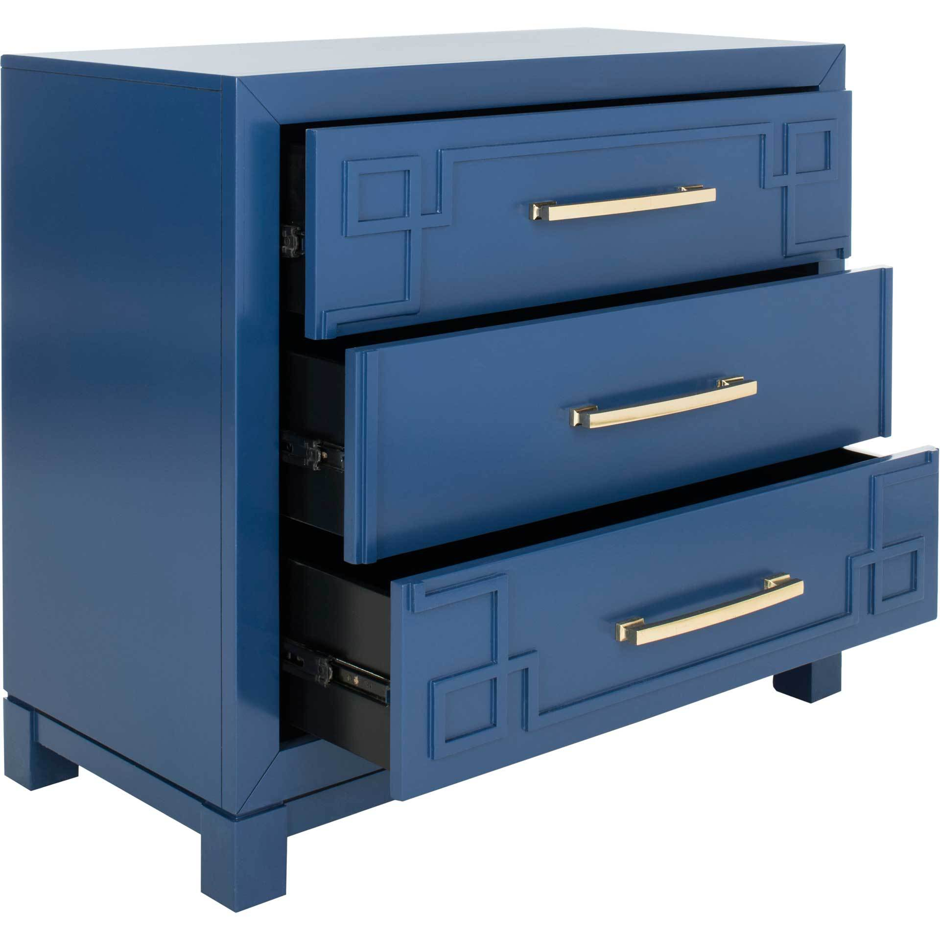 Randy 3 Drawer Chest Lapis Blue/Gold