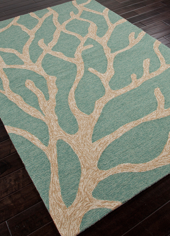 Coastal Lagoon Coral Frosty Green Area Rug