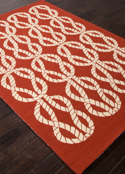 Coastal Lagoon Roped In Red/White Area Rug