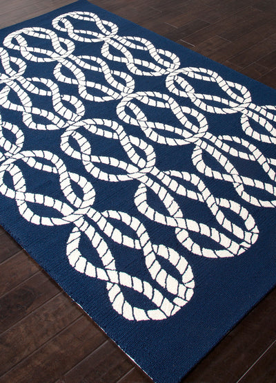 Coastal Lagoon Roped In Blue/White Area Rug