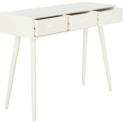 Alara 3 Drawer Console Table Distressed White