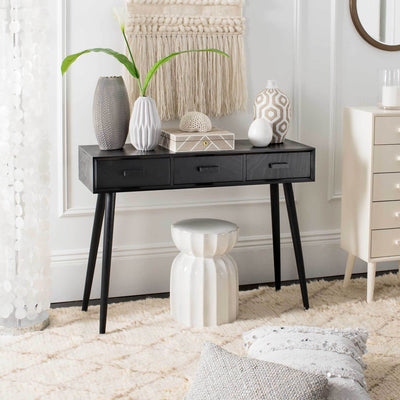 Alara 3 Drawer Console Table Black