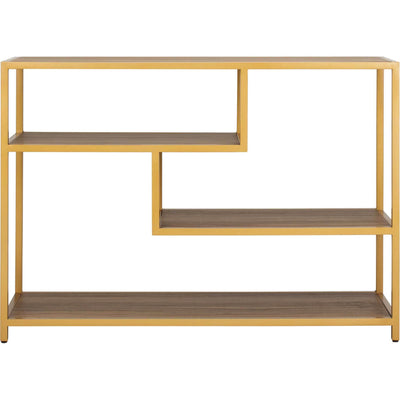 Reed Geometric Console Table Walnut/Gold