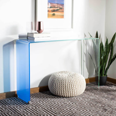 Cristopher Ombre Glass Console Table Clear/Blue