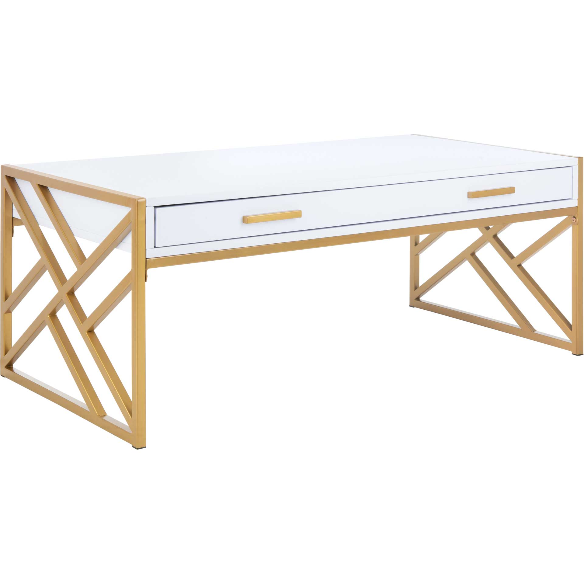 Elias 2 Drawer Coffee Table White/Gold