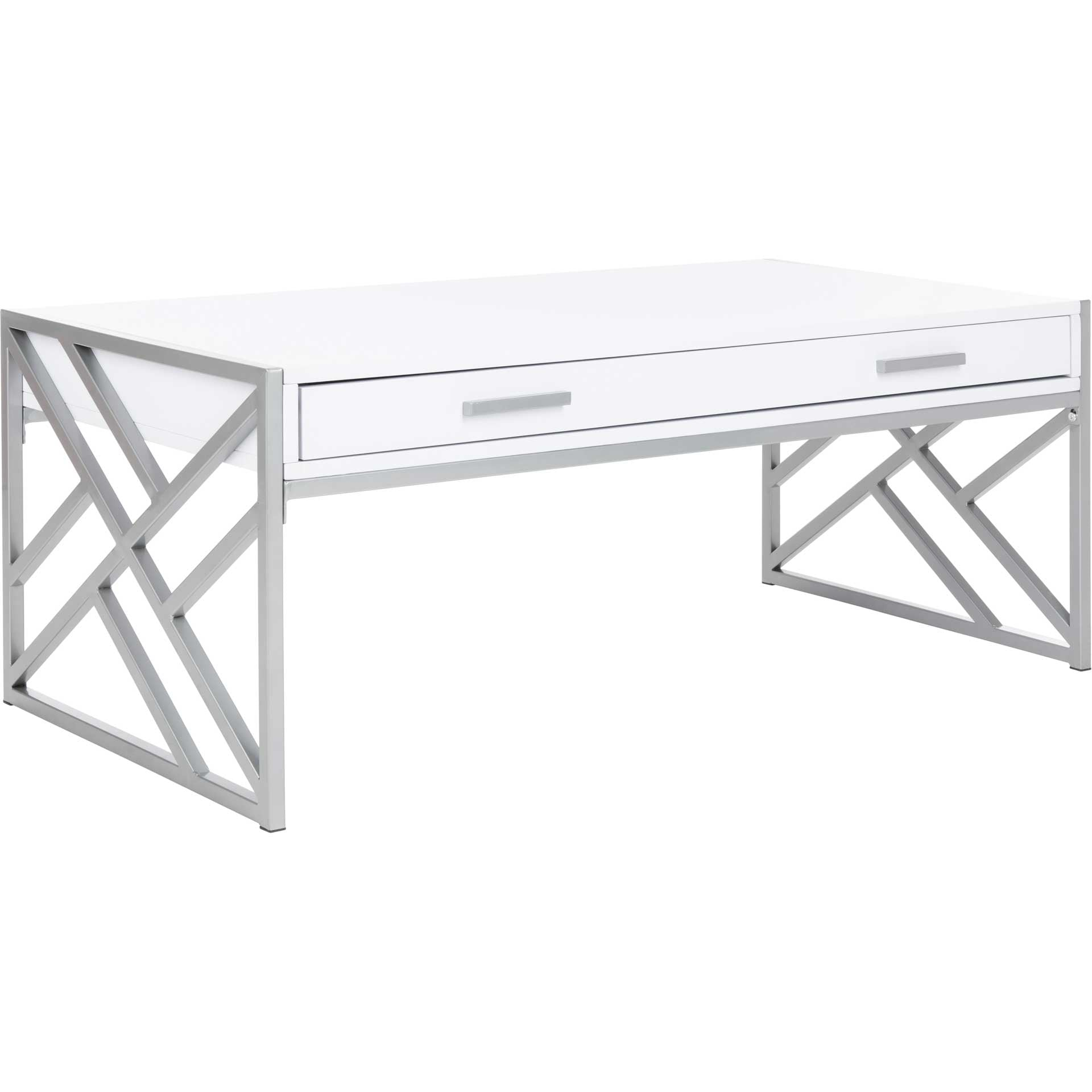Elias 2 Drawer Coffee Table White/Silver