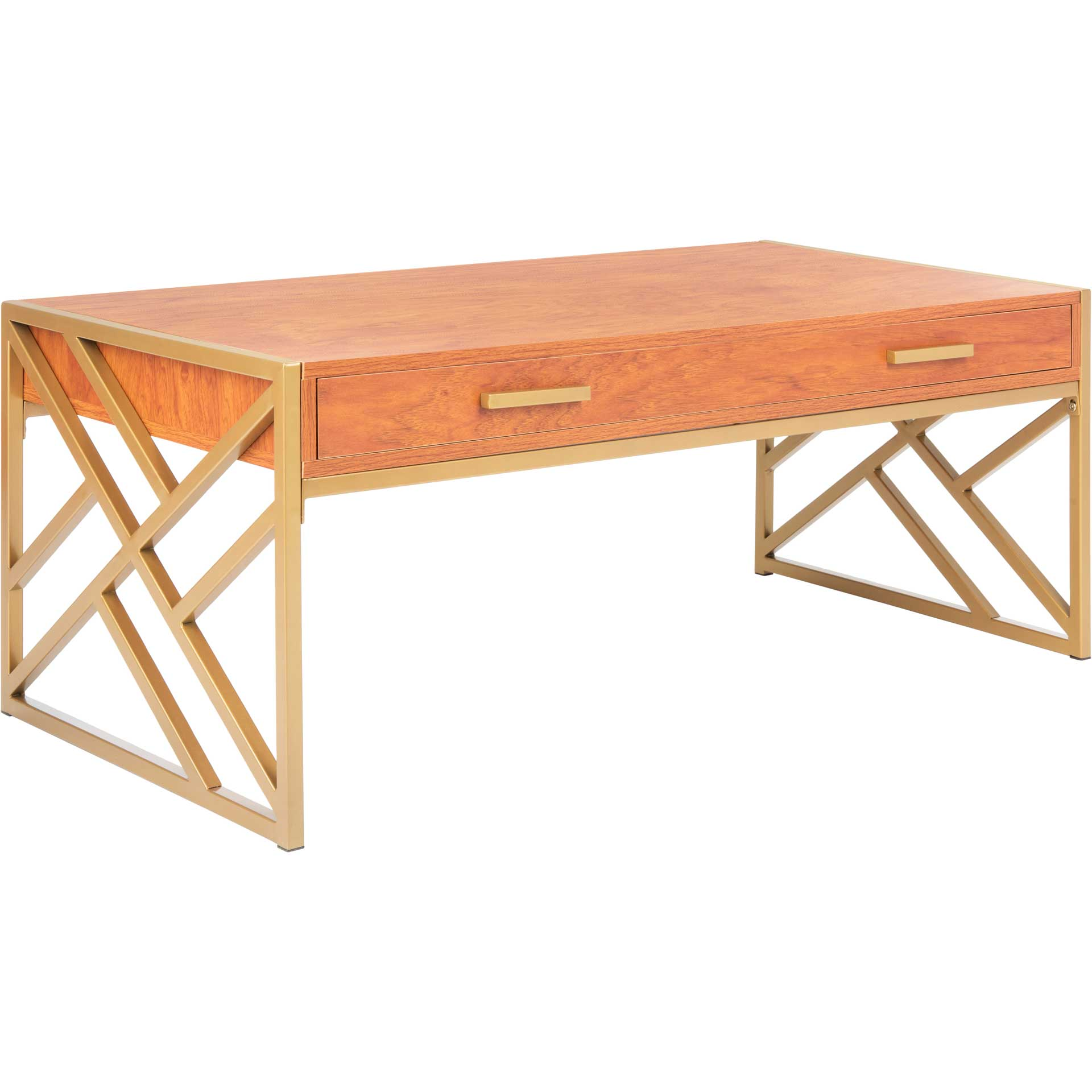 Elias 2 Drawer Coffee Table Natural/Gold