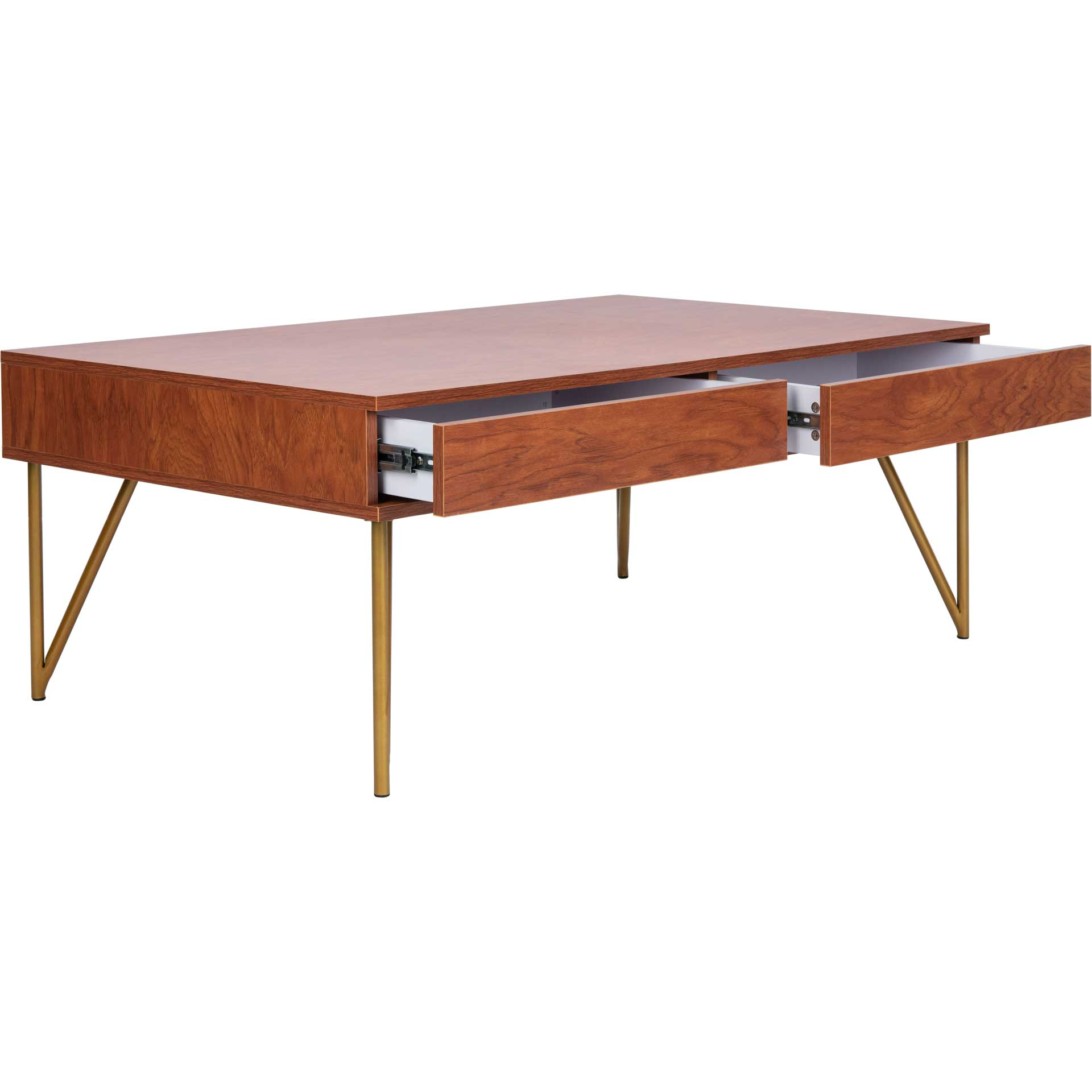 Pierce Two Drawer Coffee Table Natural/Gold