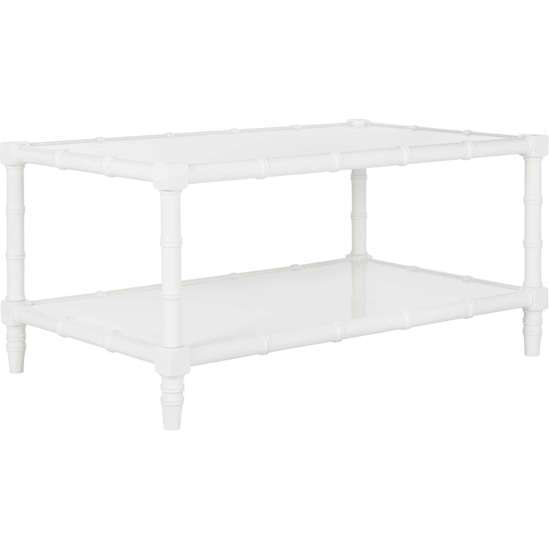 Nolan Coastal Bamboo Coffee Table White