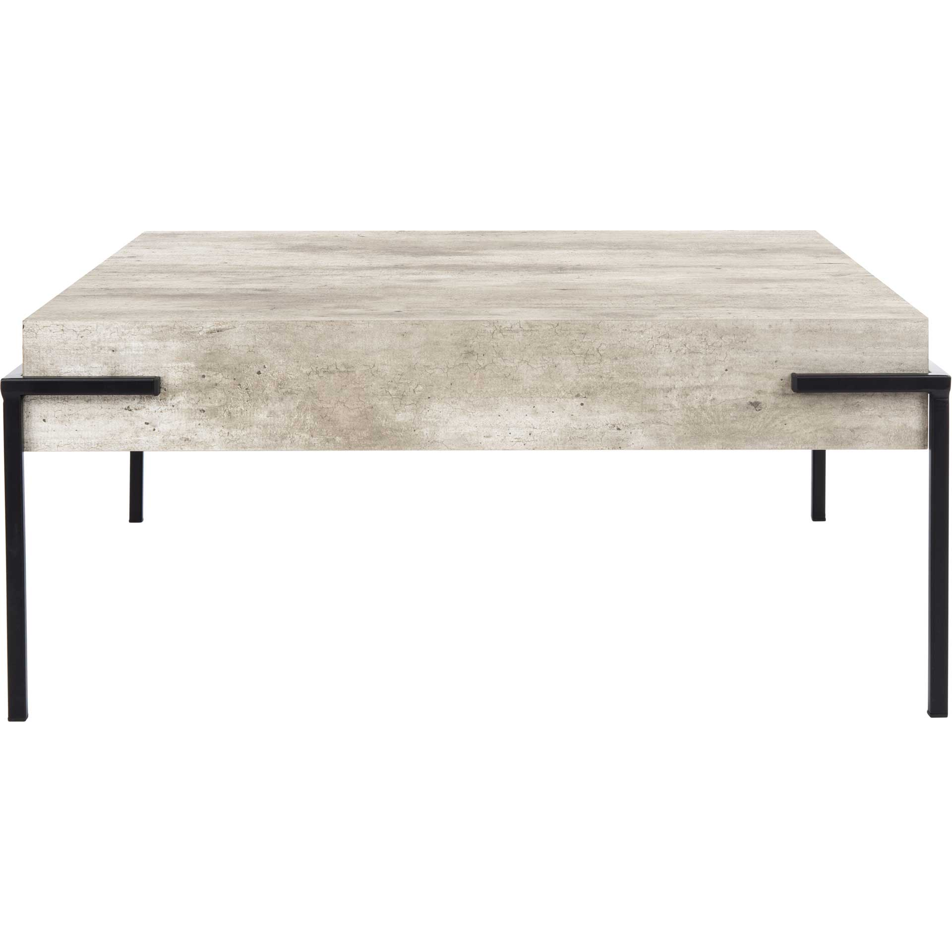 Elliot Square Coffee Table Light Gray/Black