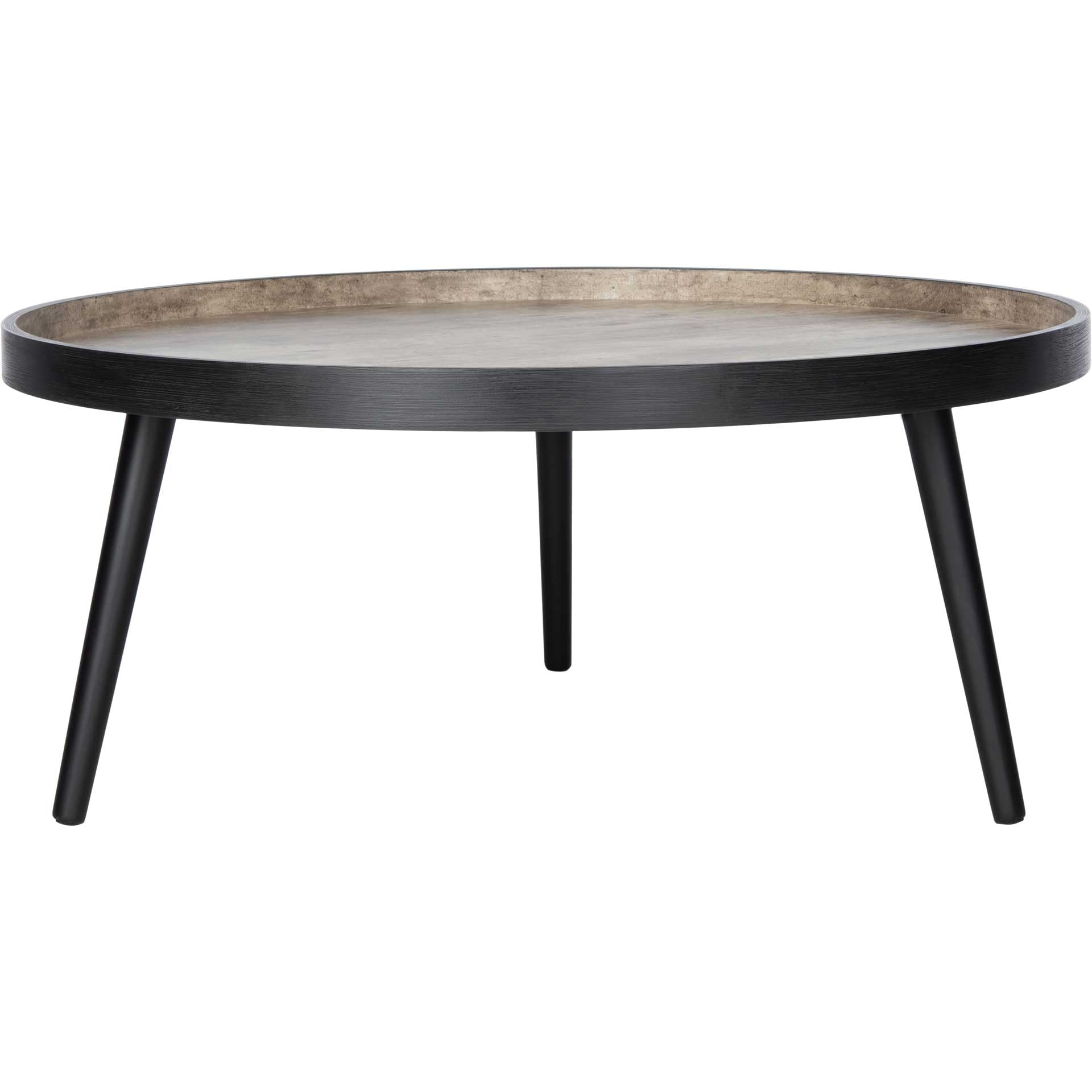 Freya Round Tray Top Coffee Table Light Gray/Black