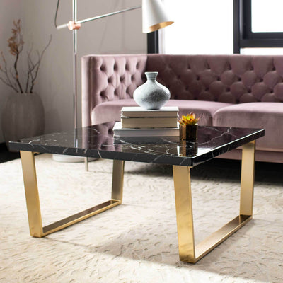 Cassidy Square Coffee Table Black Marble/Brass