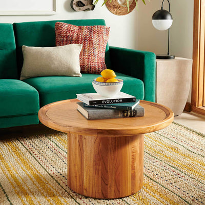 Denver Pedestal Coffee Table Natural Brown