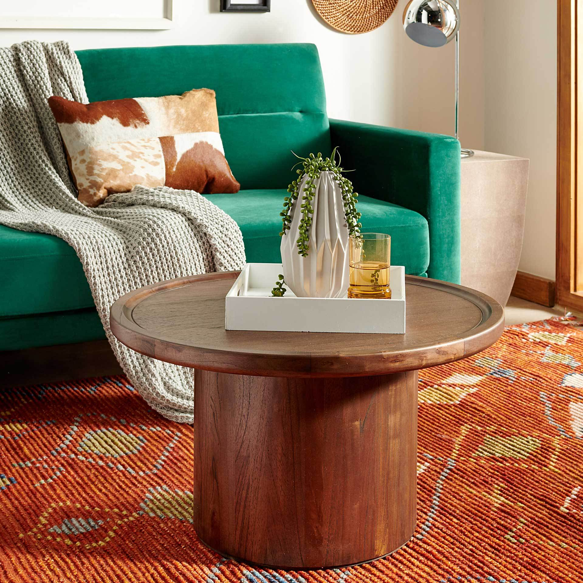 Denver Pedestal Coffee Table Dark Brown