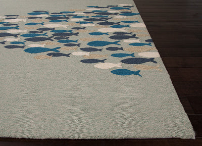 Coastal Lagoon Go Fish Cameo Green/Orion Blue Area Rug