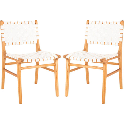 Tara Leather Dining Chair White/Natural (Set of 2)