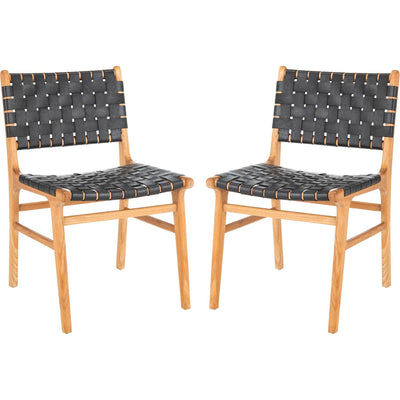 Tara Leather Dining Chair Black/Natural (Set of 2)