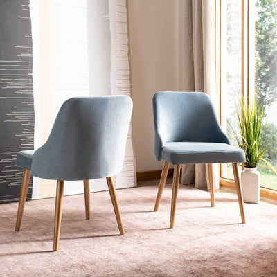 Luis Upholstered Dining Chair Slate Blue/Gold (Set of 2)