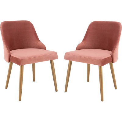 Luis Upholstered Dining Chair Dusty Rose/Gold (Set of 2)