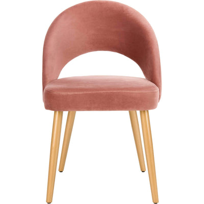 Gia Retro Dining Chair Dusty Rose/Gold (Set of 2)