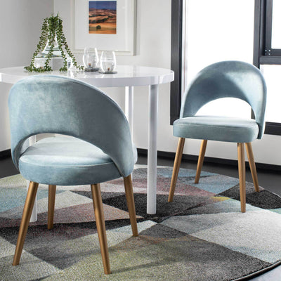 Gia Retro Dining Chair Slate Blue/Gold (Set of 2)