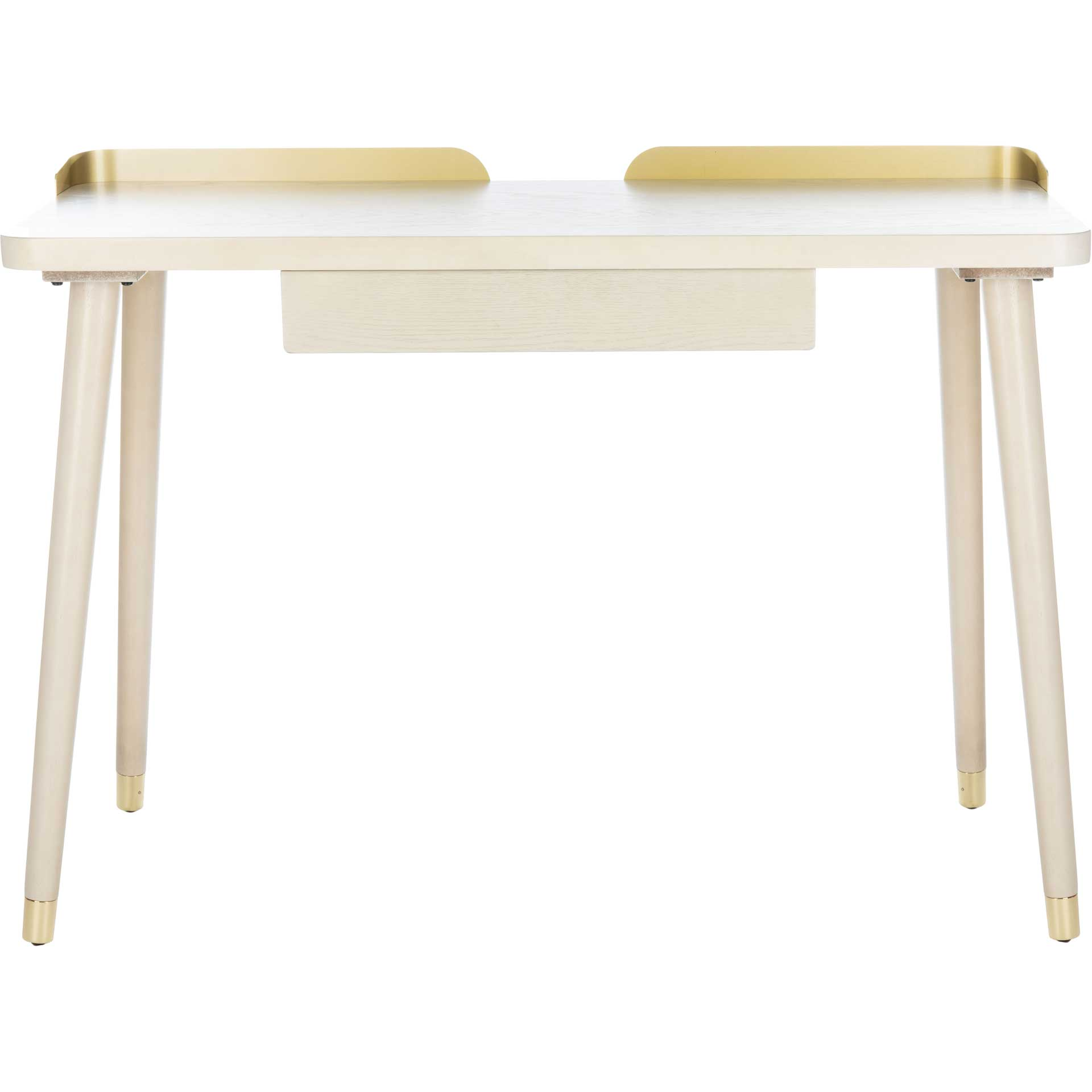 Paula 1 Drawer Desk White Washed/Gold