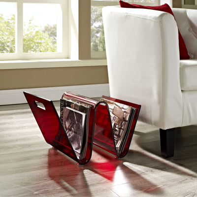 Crescent Magazine Holder Red