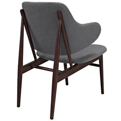 Cicely Wood Lounge Chair Dark Gray