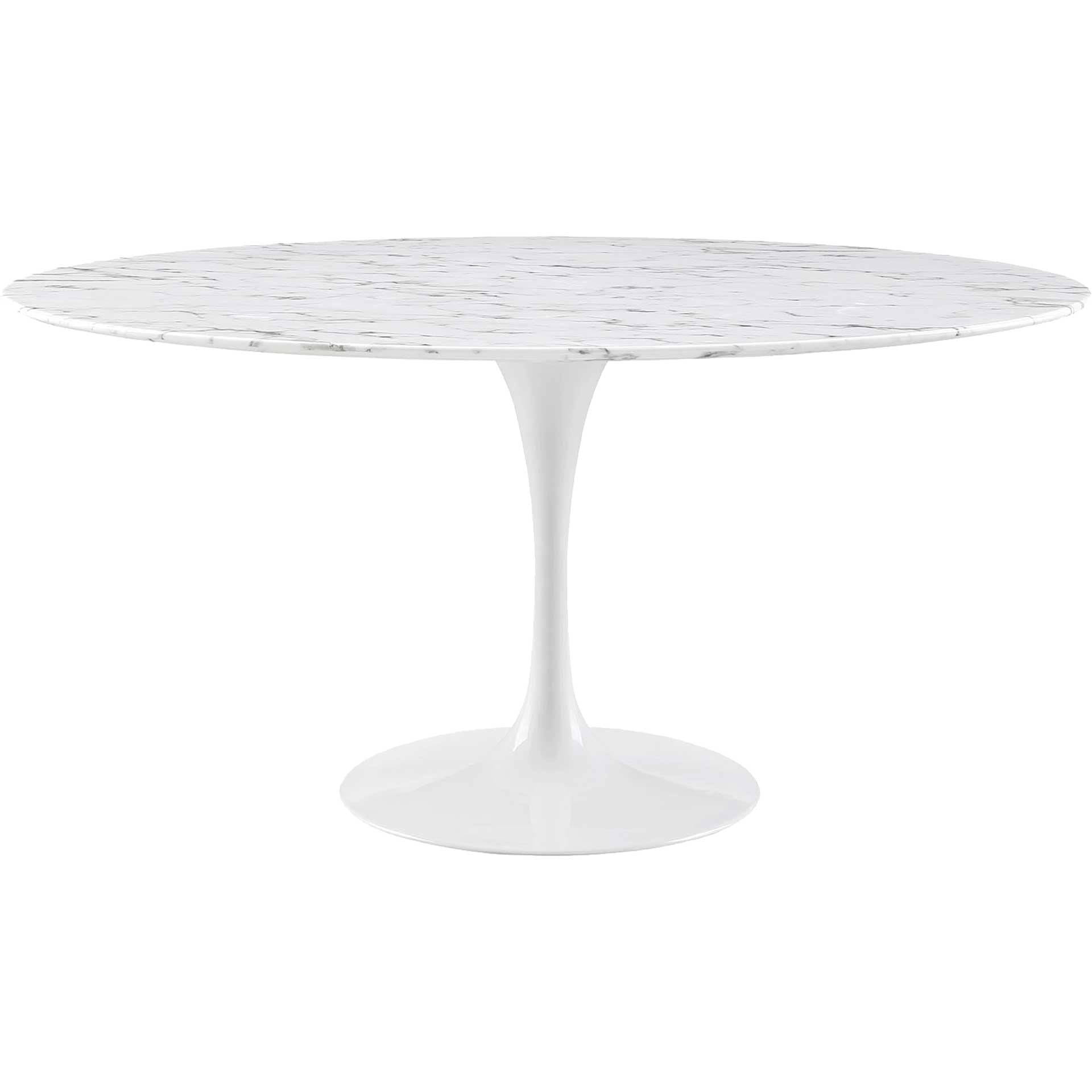 Lore Faux Marble Round Dining Table White