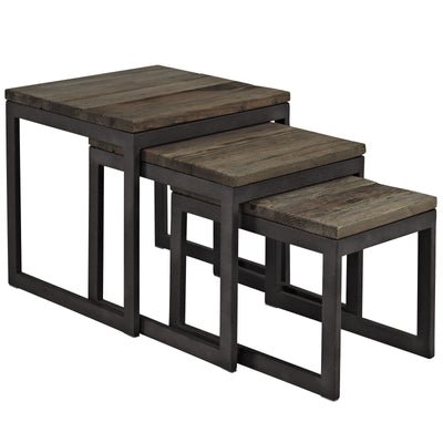 Cove Wood Top Nesting Table Brown