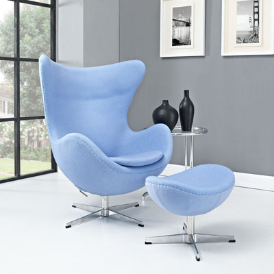 Grand Wool Lounge Chair Baby Blue