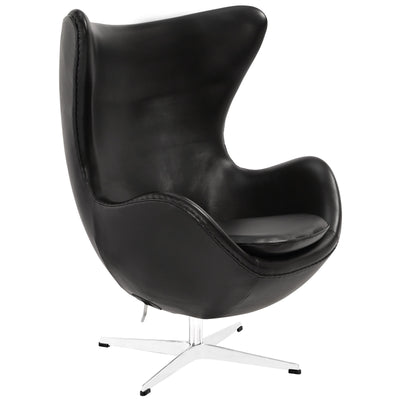 Grand Leather Lounge Chair Black