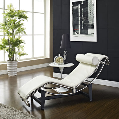 Chant Leather Chaise White