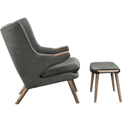 Berlin Lounge Chair and Ottoman Gray