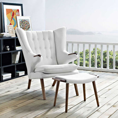 Berlin Lounge Chair and Ottoman White