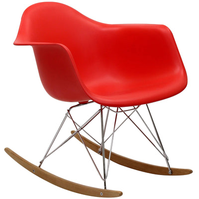 Rocking Lounge Chair Red