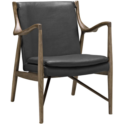 Minerva Leather Lounge Chair Walnut Black