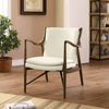 Minerva Leather Lounge Chair Walnut Cream