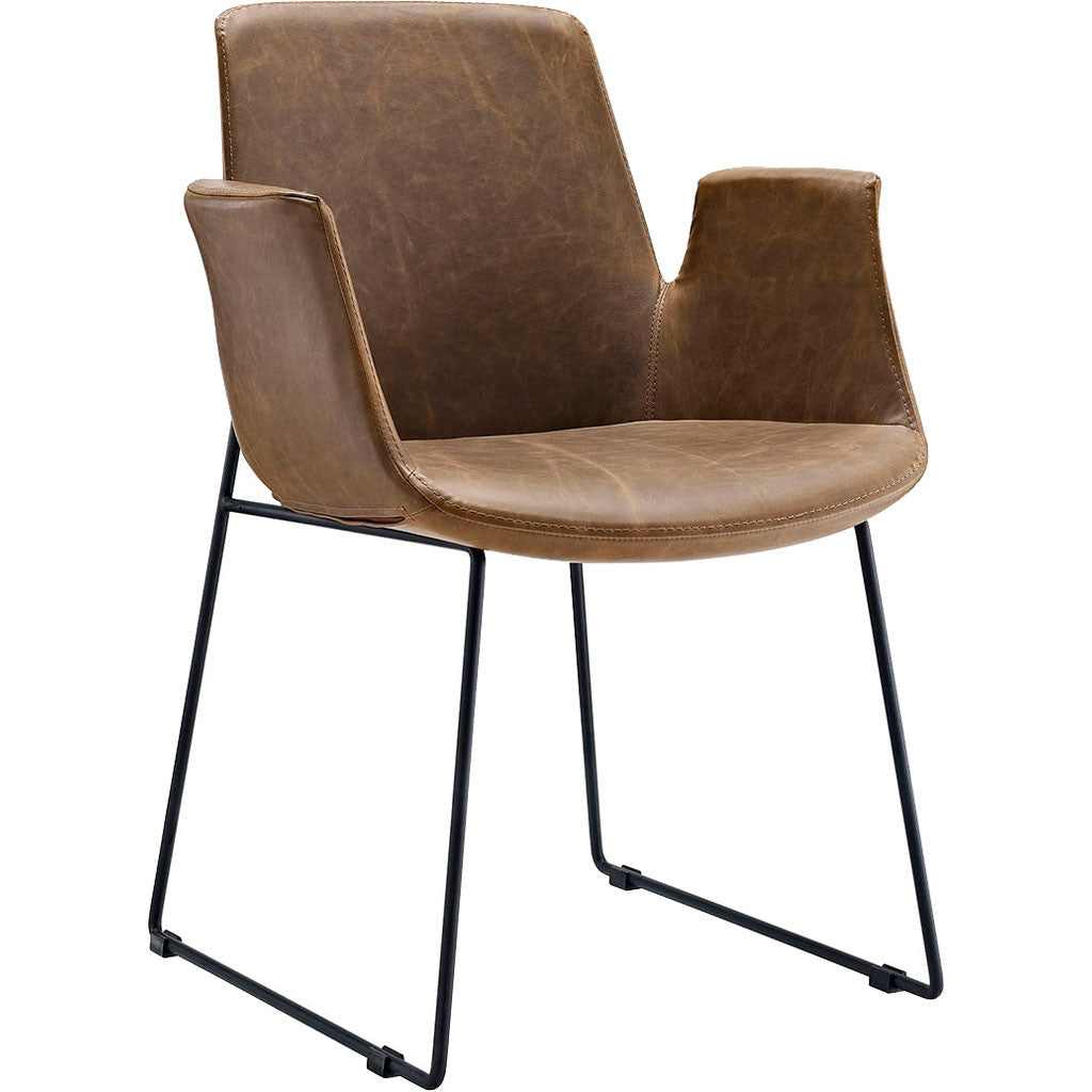 Attention Dining Leather Armchair Brown