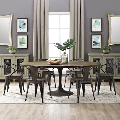 Druid Oval Wood Top Dining Table