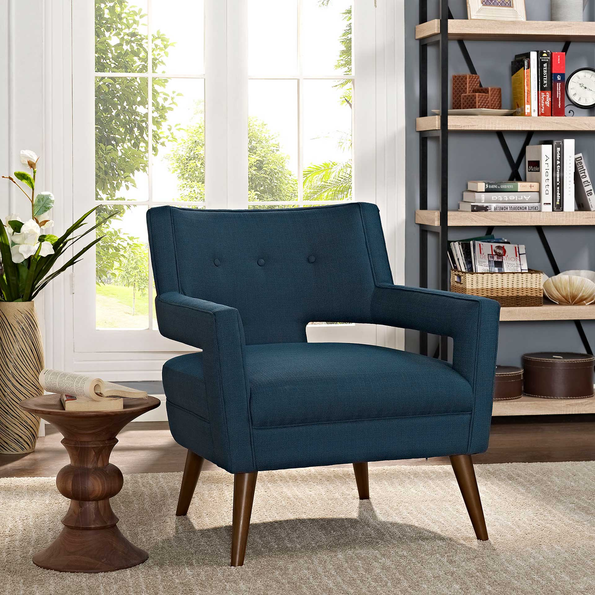 Stanley Upholstered Fabric Armchair Azure