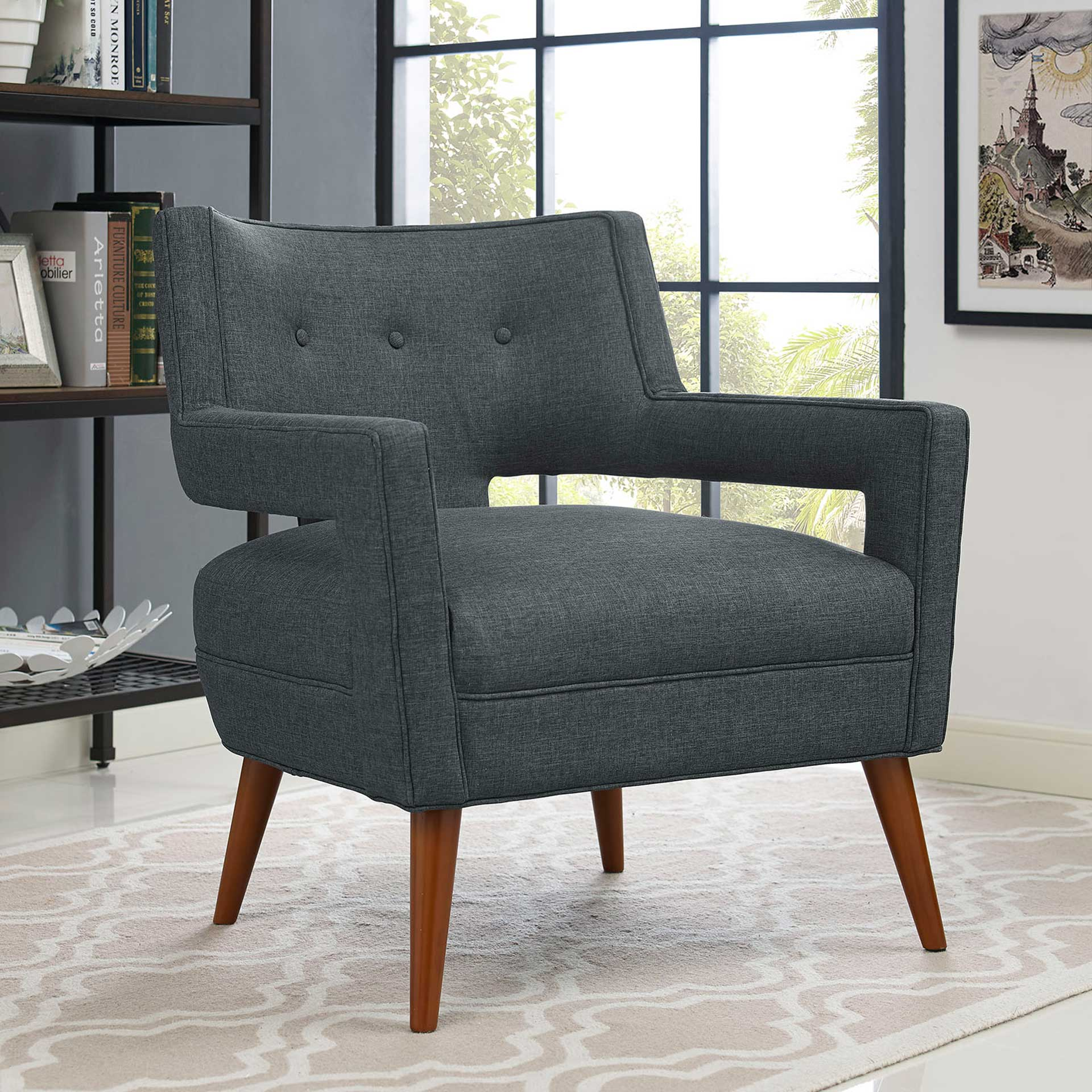 Stanley Upholstered Fabric Armchair Gray