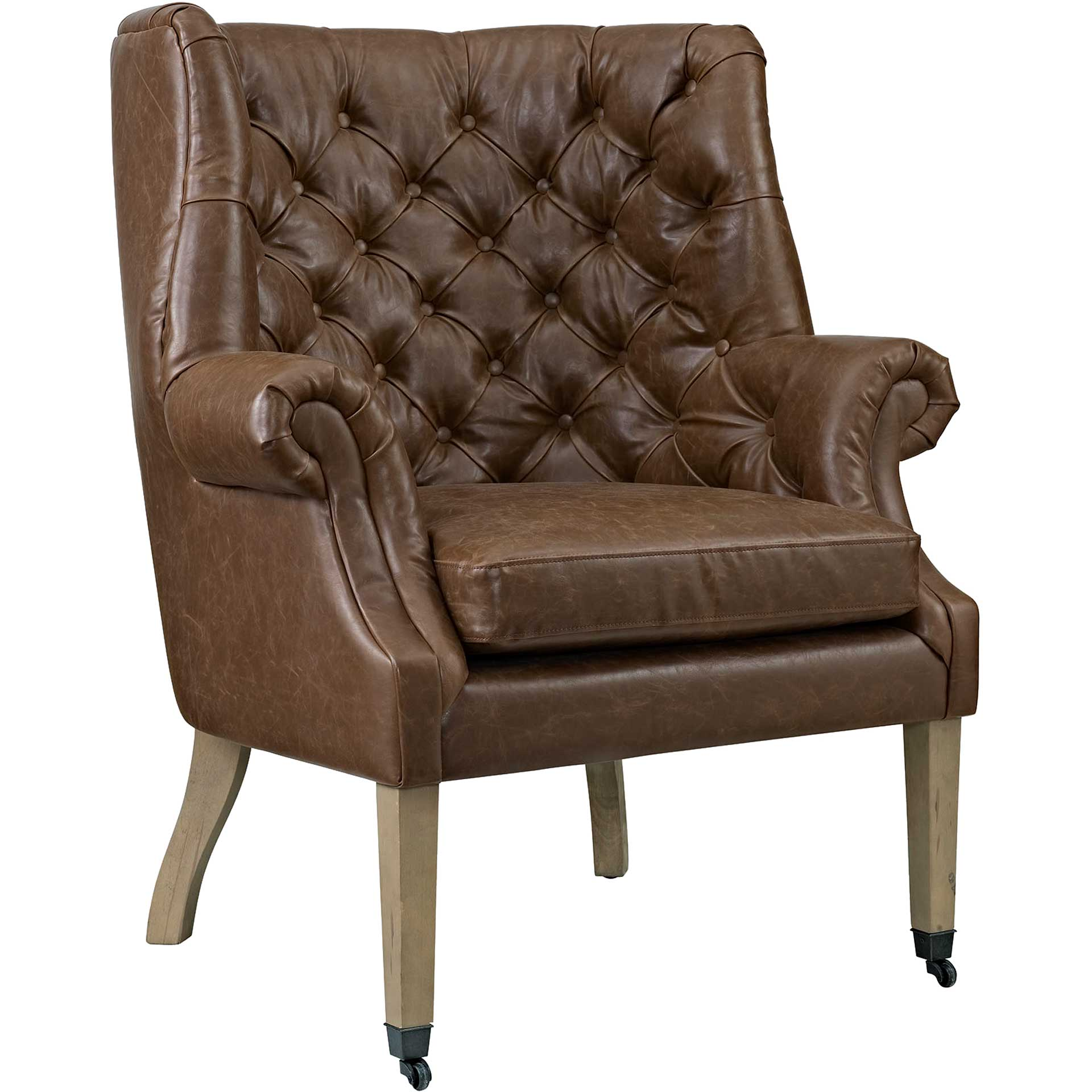 Camron Upholstered Vinyl Lounge Chair Brown