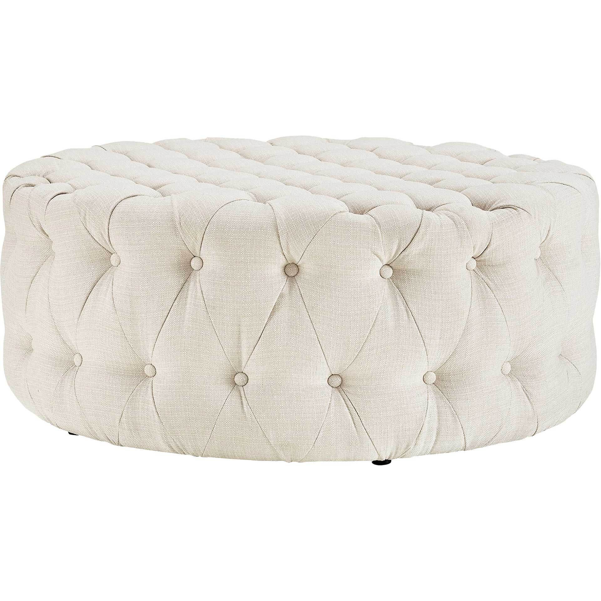 Alain Upholstered Fabric Ottoman Beige