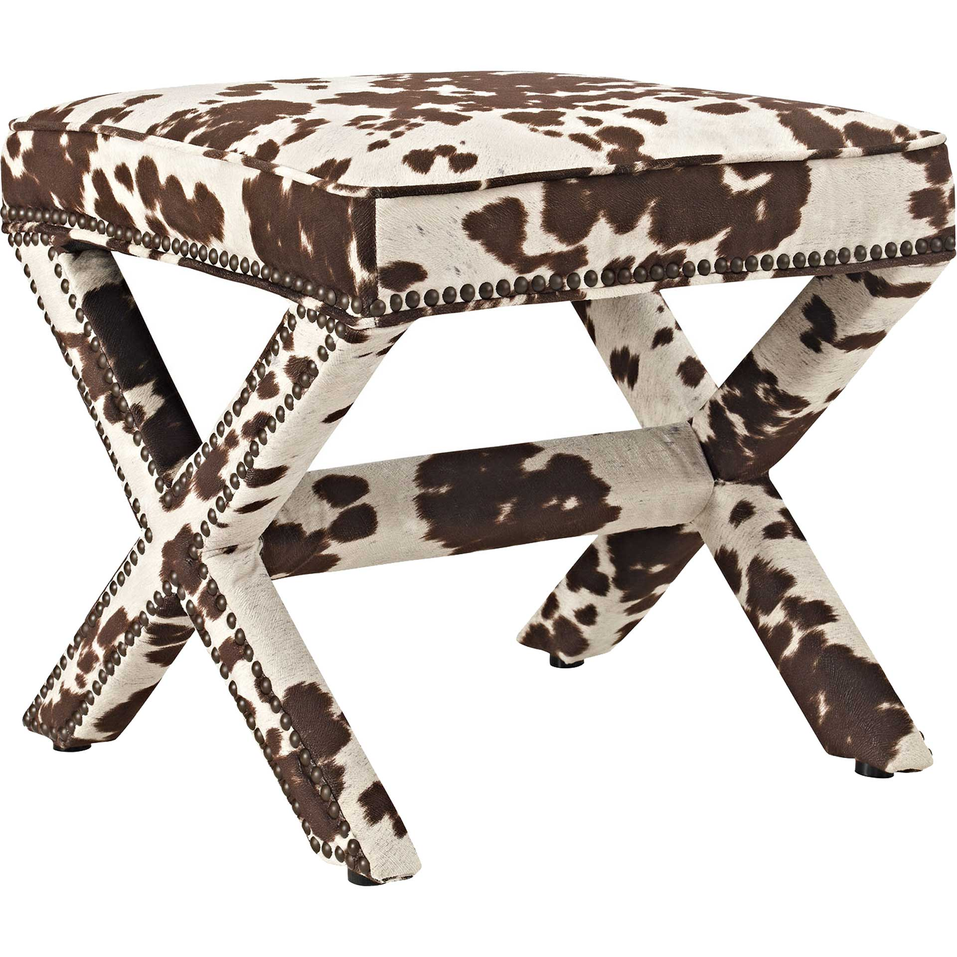 Roger Upholstered Fabric Bench Cowhide