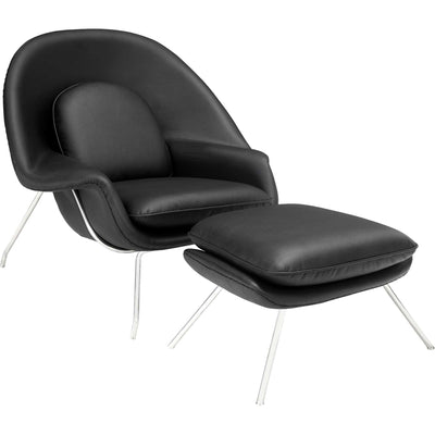 Wander Leather Lounge Chair Black